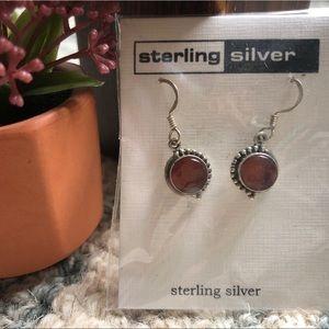 Sterling silver orange-rust garnet dangle earrings